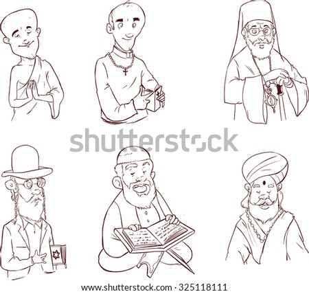 People of different religion in traditional clothing. Islam, judaism, buddhism, orthodox, catholic, hinduism illustration (black and white) - stock vector