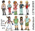 People of Rock Music Festivals. Hand drawn cartoon characters, set. - stock photo