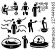 People of the Future Robot Technology Stick Figure Pictogram Icon - stock photo
