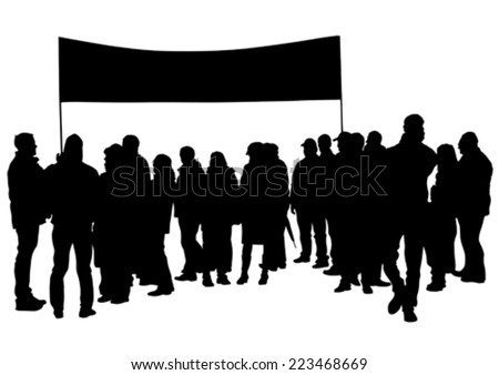 People of with large flags on white background - stock vector
