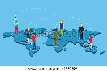 People on  a earth planet map. Flat isometric vector illustration. - stock vector