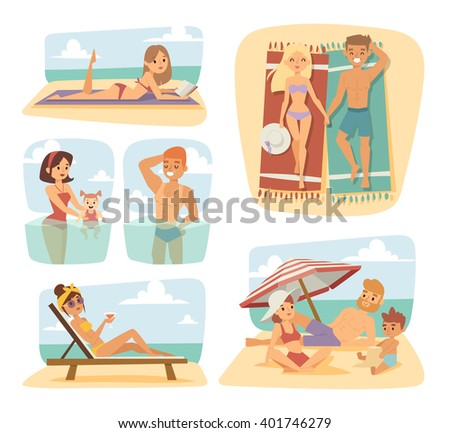 People on beach outdoors, summer people lifestyle. People on summer beach, sunlight teenagers people on beach. Summer people on the sand beach fun vacation happy time cartoon vector illustration. - stock vector
