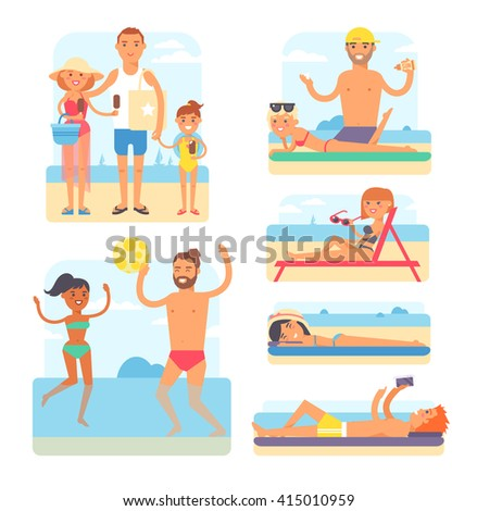 People on beach playing jogging surfing icons set isolated vector illustration. Beach people summer leisure and vacation travel holiday beach people. Beach people tropical enjoyment sky outdoors. - stock vector