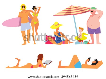 People on beach vector isolated. Sexy girl on beach. Family on beach. Young couple on beach. Different people on white background. Isolated beach people. Friends on beach. Summer people concept. Icons - stock vector