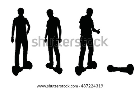 People on gyroscooter. Vector silhouette isolated on white background.