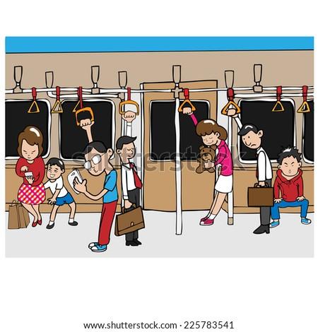 People on subway mass transportation - stock vector