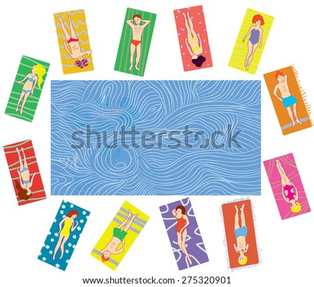 People on the beach and sea banner cartoon - stock vector