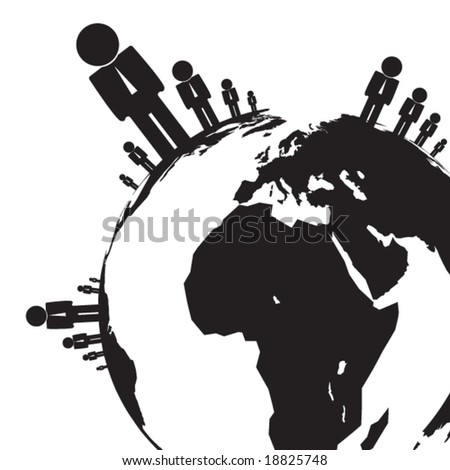 People on the earth symbol in vector - stock vector
