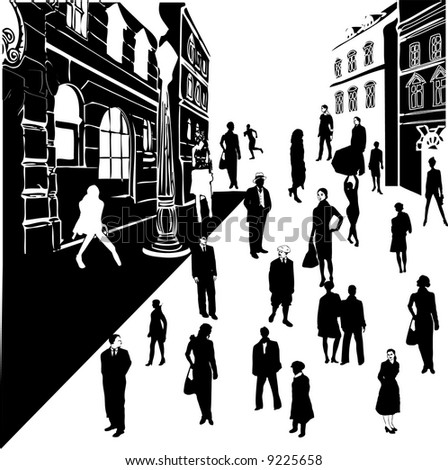 People on the street - vector background - stock vector