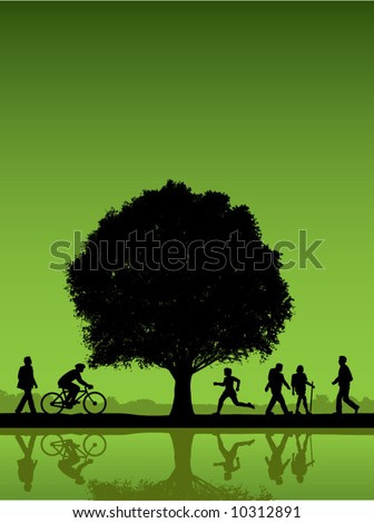 People outdoors with tree vector background - stock vector