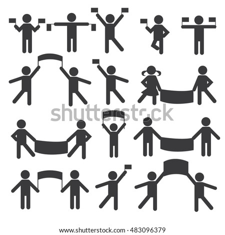 People Person Basic Body Posture Stick Figure Pictogram Icon. Action. People with flags and banners