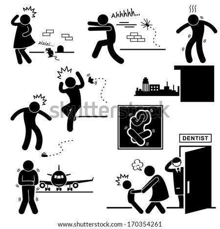 People Phobia Fear Scared Afraid Stick Figure Pictogram Icon - stock vector
