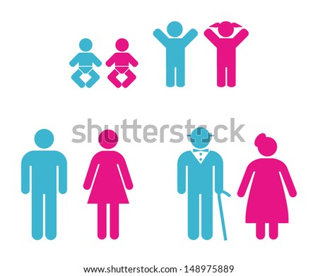 people pictogram in blue and pink - stock vector