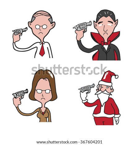 People pistol suicide cartoon drawing - stock vector