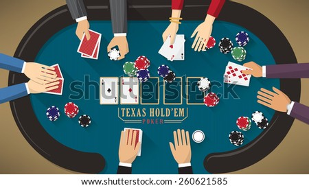 People playing poker around a poker table with dealer, the woman is winning - stock vector