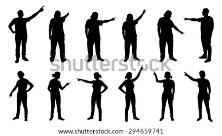 people pointing silhouettes on the white background - stock vector