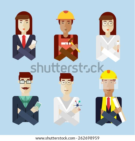People portraits in different professions. Men lumberjack, Asian scientist, engineer dark skin, hipster. Woman biologist, construction worker dark skin, business woman. Vector illustration flat style. - stock vector