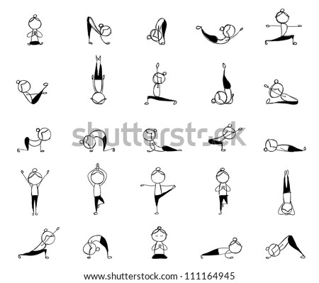 People practicing yoga, 25 poses for your design - stock vector
