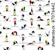 People practicing yoga, seamless background for your design - stock photo