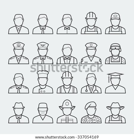 People professions and occupations icon set in thin line style #1 - stock vector