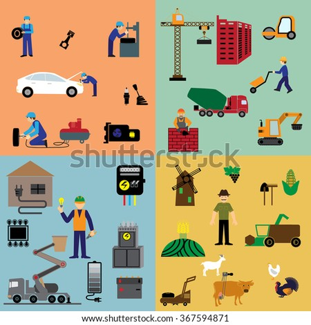 People professions concept flat icons set constructor man, machinery mechanic, farmer, electrician  man, web elements vector illustration. - stock vector