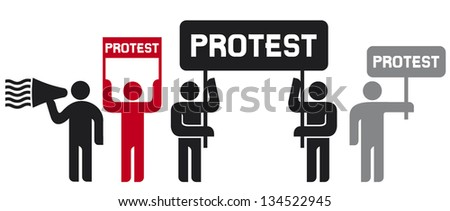 people protesting icons (man and banner, protest icon, man holding flag, man holding transparent, demonstrator, protest man, demonstrations, protest, demonstrator icon, man speaking in megaphone icon) - stock vector