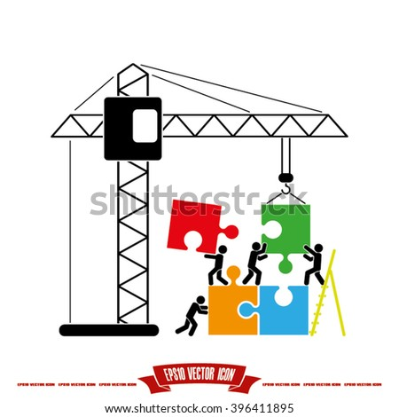 people puzzle and crane icon, people puzzle and crane icon eps10, people puzzle and crane icon vector, people puzzle and crane icon eps, people puzzle and crane icon picture - stock vector