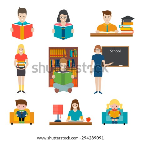 People reading books and study, vector illustration. Young students and children holding book and learn - stock vector