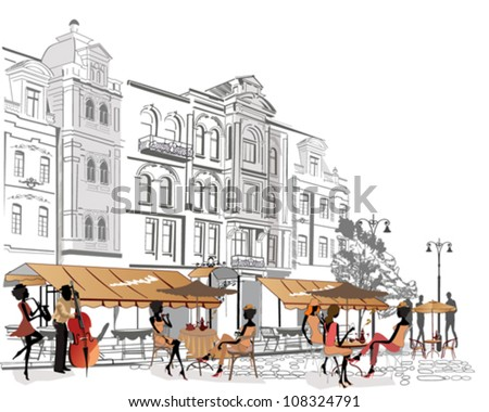 People relaxing in the street cafe - stock vector