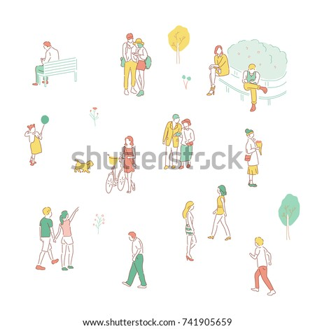 People resting in the par.k hand drawn illustrations. vector doodle design