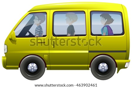 People riding in yellow van illustration