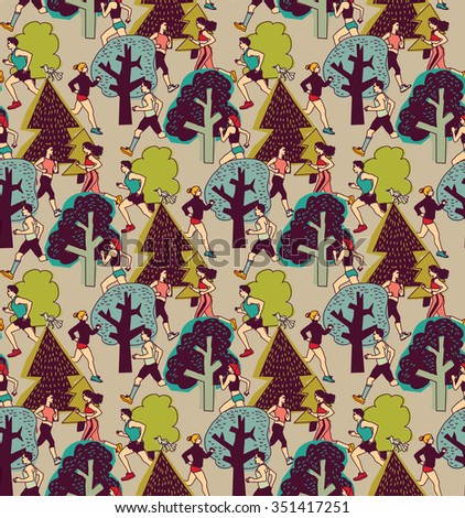 People run in the park health, life color seamless pattern. Group of people run between trees. Color vector illustration. EPS8 - stock vector