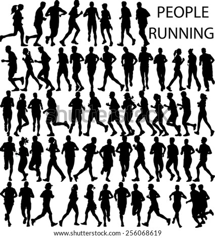 people running big collection - vector - stock vector