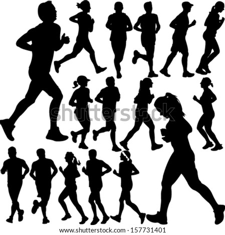 people running collection 1 - vector - stock vector