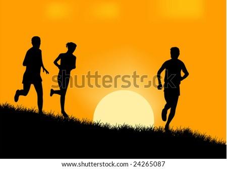 People running silhouette vector - stock vector