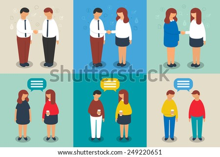 People's communications set, vector illustration - stock vector