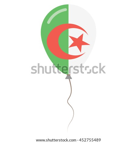 People's Democratic Republic of Algeria national colors isolated baloon on white background. Independence day patriotic poster. Flat style flag balloon. National day vector illustration. - stock vector