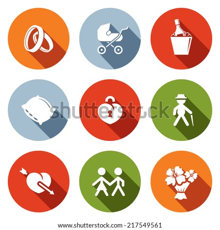 People's lives flat icons set - stock vector