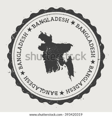 People's Republic of Bangladesh. Hipster round rubber stamp with Bangladesh map. Vintage passport stamp with circular text and stars, vector illustration. - stock vector