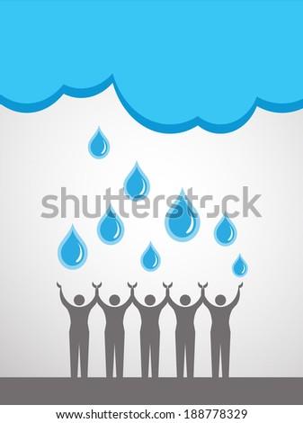 People saving water - stock vector