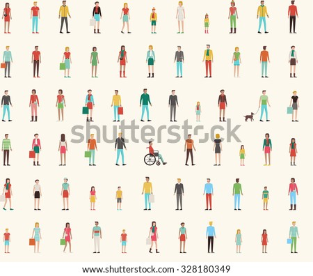 People seamless pattern with set of flat characters, men, women, kids - stock vector