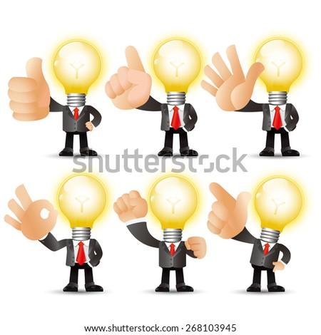 People Set - Business - Big hand. Bulb man - stock vector