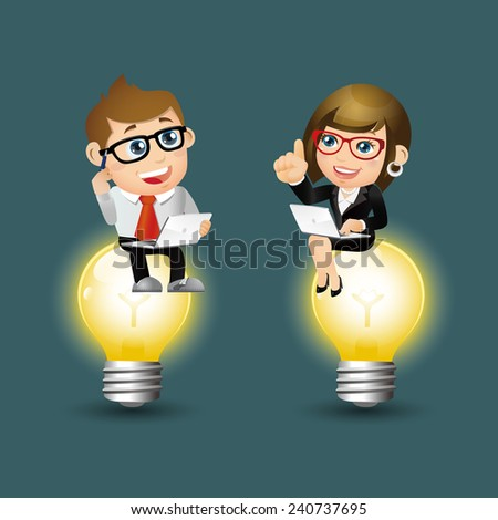 People Set - Business - Business people sitting on the light - stock vector