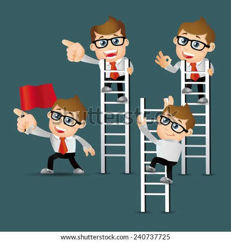 People Set - Business -Businessman climbing on ladder to be success - stock vector