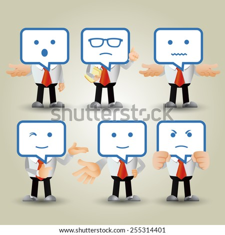 People Set - Business - Businessman facial expression - stock vector
