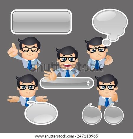 People Set - Business - Businessman talking. Speech bubbles -4 - stock vector