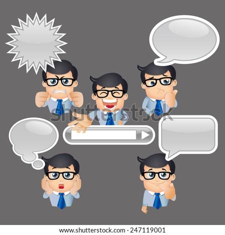 People Set - Business - Businessman talking. Speech bubbles -3 - stock vector