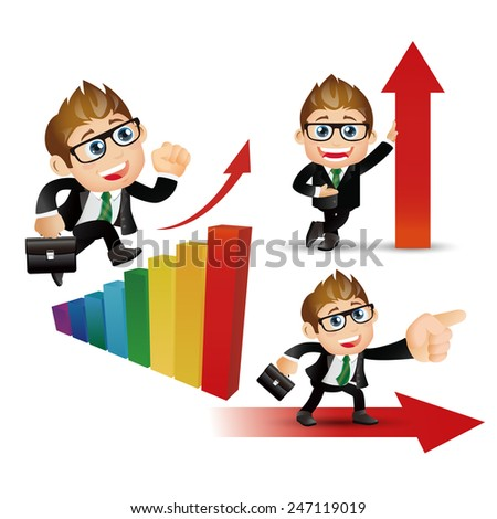 People Set - Business -Businessman work successfully - stock vector