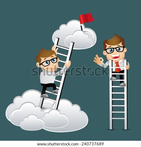 People Set - Business -Businessmen climbing on ladder to be success - stock vector