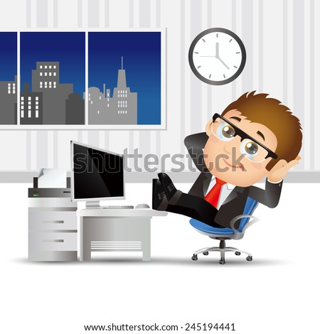 People Set - Business - Businessmen relax on chair - stock vector